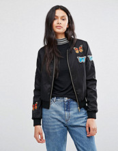 Brave Soul Bomber Jacket With Butterfly Badges