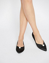 Daisy Street Faux Pearl Black Point Flat Shoes