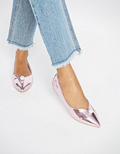 Daisy Street Faux Pearl Pink Mirror Point Flat Shoes