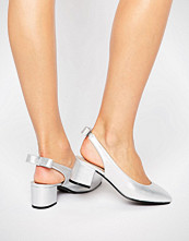 Daisy Street Sling Silver Mid Heeled Shoes