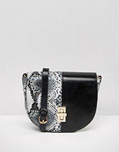 Liquorish Faux Snake Mix Cross Body Bag