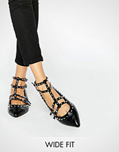 ASOS LOOKING GOOD Wide Fit Studded Ballet Flats