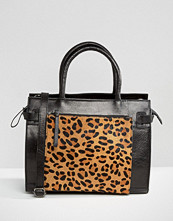 Urbancode Leather Tote Bag With Leopard Front Pocket