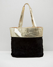 Urbancode Metallic Leather Suede Mix Shopper Bag
