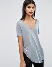 ASOS T-Shirt in Wash with Abstract Metallic Print