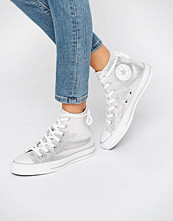 Converse All Star Silver Metallic High Top Trainers