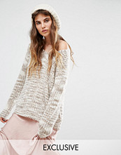 Seint Relaxed V Neck Jumper In Oatmeal Marble