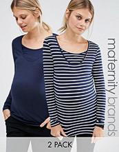 Mama.licious Mamalicious Nursing Striped 2 Pack Long Sleeve Top