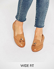 Dune Wide Fit Loki Tan Leather Mix Loafers