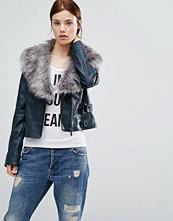 Urbancode Pu Bker Jacket With Faux Fur Collar