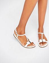 Faith Jessie White Bow Flat Sandals