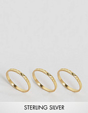ASOS Gold Plated Sterling Silver Pack of 3 Hammered Rings