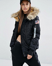 Alpha Industries Polar Bomber Jacket with Faux Fur Hood