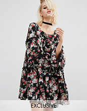 Reclaimed Vintage Tiered Smock Dress With Frill Insert In Floral