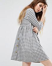 Reclaimed Vintage Button Back Smock Dress In Brushed Check