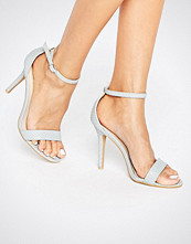 Glamorous Pale Grey Snake Print Two Part Heeled Sandals