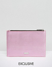 Skinnydip Exclusive Zip Top Pouch Bag in Metallic Pink