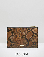 Skinnydip Exclusive Zip Top Pouch Bag in Ombre Faux Snake