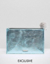 Skinnydip Exclusive Zip Top Pouch Bag in Metallic Blue with Grey Pom