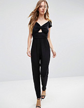 ASOS Halloween Bardot Twist Jersey Jumpsuit with Peg Leg