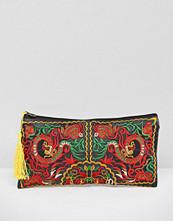 Reclaimed Vintage Embroidered Tassel Clutch Bag