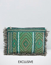 Reclaimed Vintage Embroidered Clutch Bag with Sequin Detail