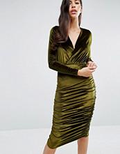 Club L Wrap Front Velvet Midi Dress