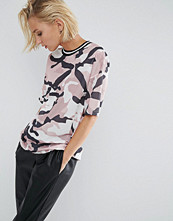 ASOS T-Shirt in Longline Fit with Stripe Tipping In Camo Print Mesh