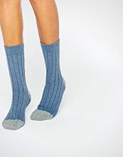 Johnstons of Elgin Blue Cashmere Colour Block Ribbed Socks