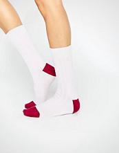 Johnstons of Elgin Pink Cashmere Colour Block Ribbed Socks
