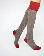 Johnstons of Elgin Red Cashmere Colour Block Knee High Socks