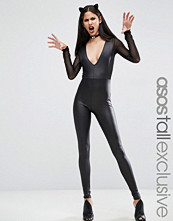 Asos Tall HALLOWEEN Sexy Fishnet Insert fAUX lEATHER Catsuit
