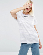 ASOS T-Shirt With AWKWRD Embroidery In Pretty Stripe