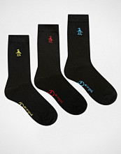 Penguin 3 Pack Black Socks with Multi Embroidery