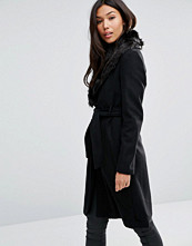 QED London Belted Coat With Faux Fur Trim