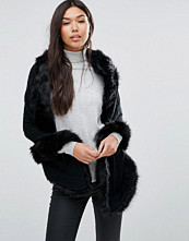 QED London Cape With Faux Fur Trim