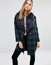 QED London Checked Coat With Faux Fur Trim