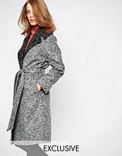 Helene Berman Brushed Grey Contrast Oversized Collar Coat