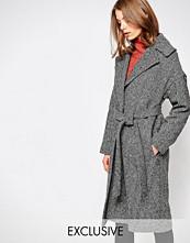 Helene Berman Herringbone Coat With Oversized Collar