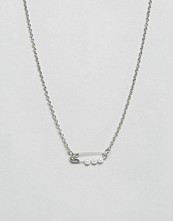 ASOS Mini Faux Pearl Safety Pin Necklace