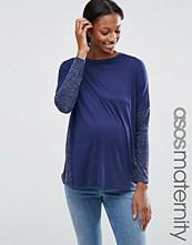 ASOS Maternity Long Sleeve T-Shirt In Linen Mix