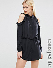 ASOS Petite Cold Shoulder Playsuit with Ruffles