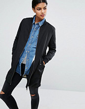 Only Longline Bomber Jacket with Borg Lining