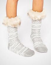 ASOS Fairisle Slipper Sock with Faux Fur Topper