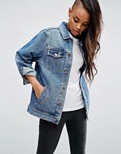 ASOS Denim Girlfriend Jacket in Astrid Mid Stonewash Blue