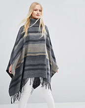 QED London Striped Roll Neck Cape With Tassel Detail