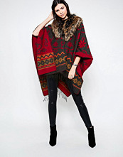 Jayley Embroidered Silk Cashmere Mix Fur Trim Poncho