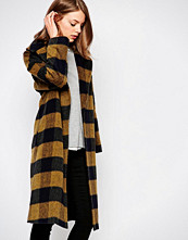 Helene Berman Mustard Shadow Check Coat With Oversized Collar