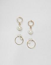 ASOS Pack of 2 Faux Pearl & Circle Stud Earrings