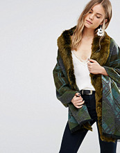 Jayley Check Faux Fur Trim Oversize Coat In Green